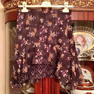 Rebecca Taylor Floral silk blend Ruffled Skirt